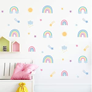 Rainbow Wall Decals (58 Stickers) - Pastel Boho Rainbow Decor Set for Nursery & Girls Room Decorations - Removable Vinyl Stickers - Gift for Girls Room Decor