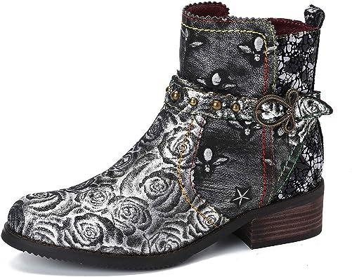 gracosy Bottines Cuir Femmes Plates, Chaussures de Ville Hiver à Talons Plat Semelle Confortable Bottes Chelsea Zip Boots Originales