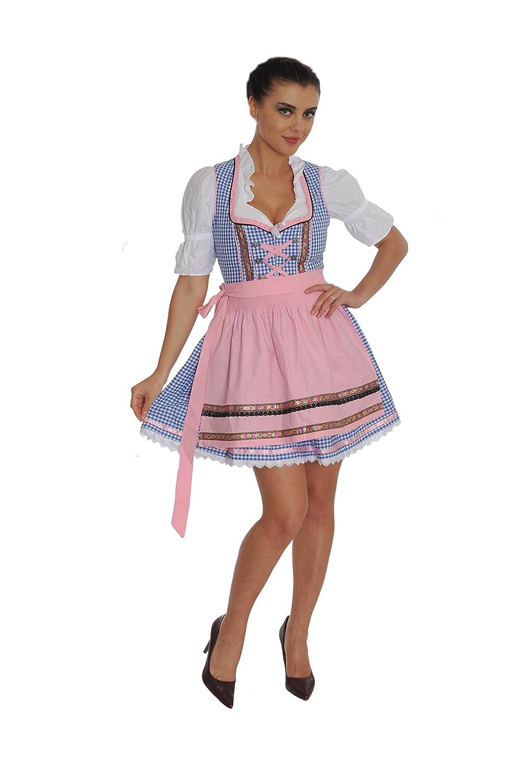 Dirndl Set 3tlg.-Trachtenkleid, Bluse und Schurze - Trachtenmode Dirndl mini Hellblau kariert und Rosa