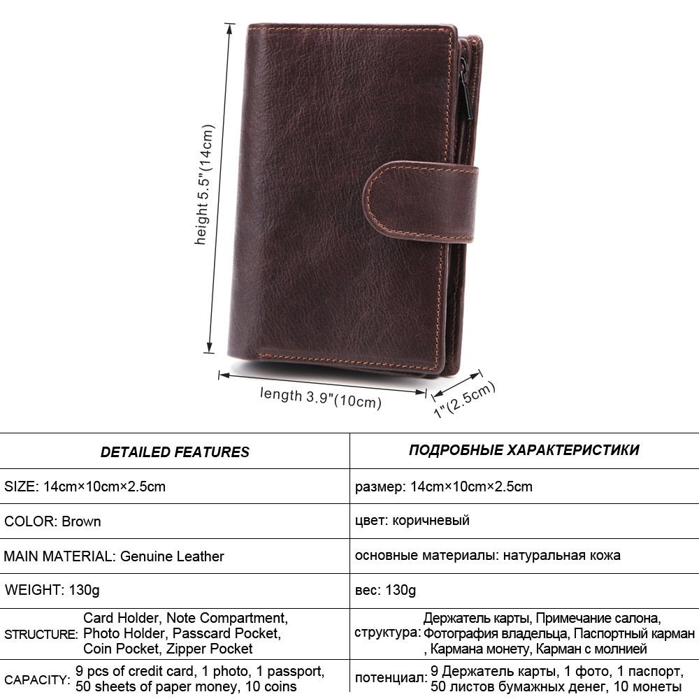 Multi-Function Document Wallet Large-Capacity Wallet. Mens Wallet Passport Wallet