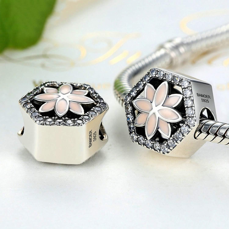 EverReena Beads Pink Flower Charm for Silver Bracelets