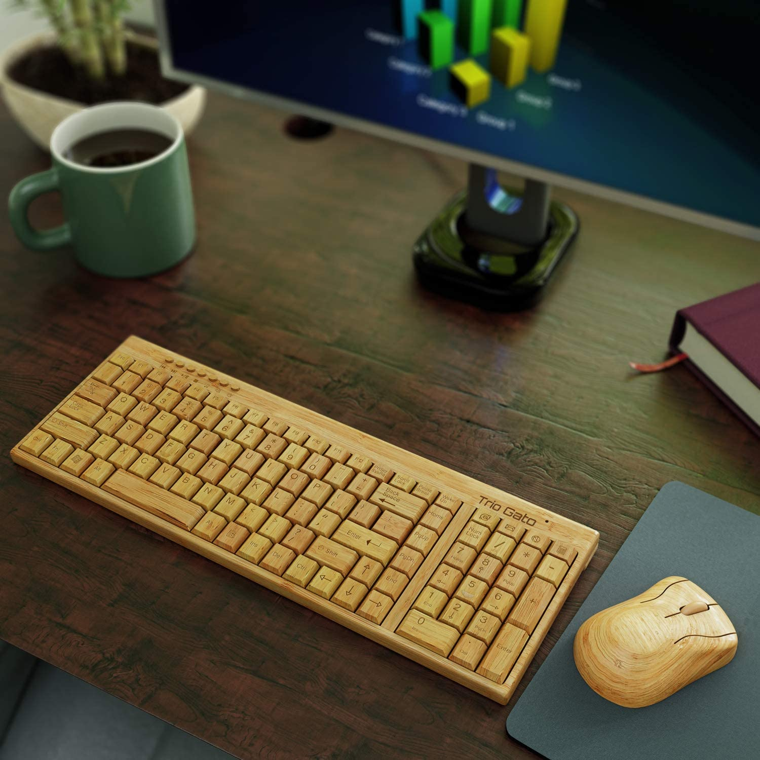 Wireless Bamboo Bluetooth Keyboard and Mouse – Natural, Handmade, Eco-Friendly Mouse and Keyboard – 96-Key Compact Cordless Keyboard and 3-Button Mouse with Scroll Wheel Includes Wood Pen by Trio Gato