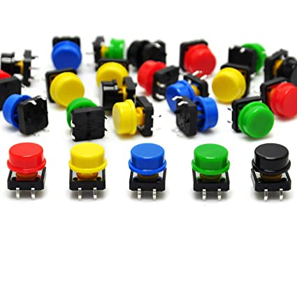 Gikfun 12x12x7 3 mm Tact Tactile Push Button Momentary SMD PCB Switch with  Cap for Arduino (Pack of 25pcs) AE1027
