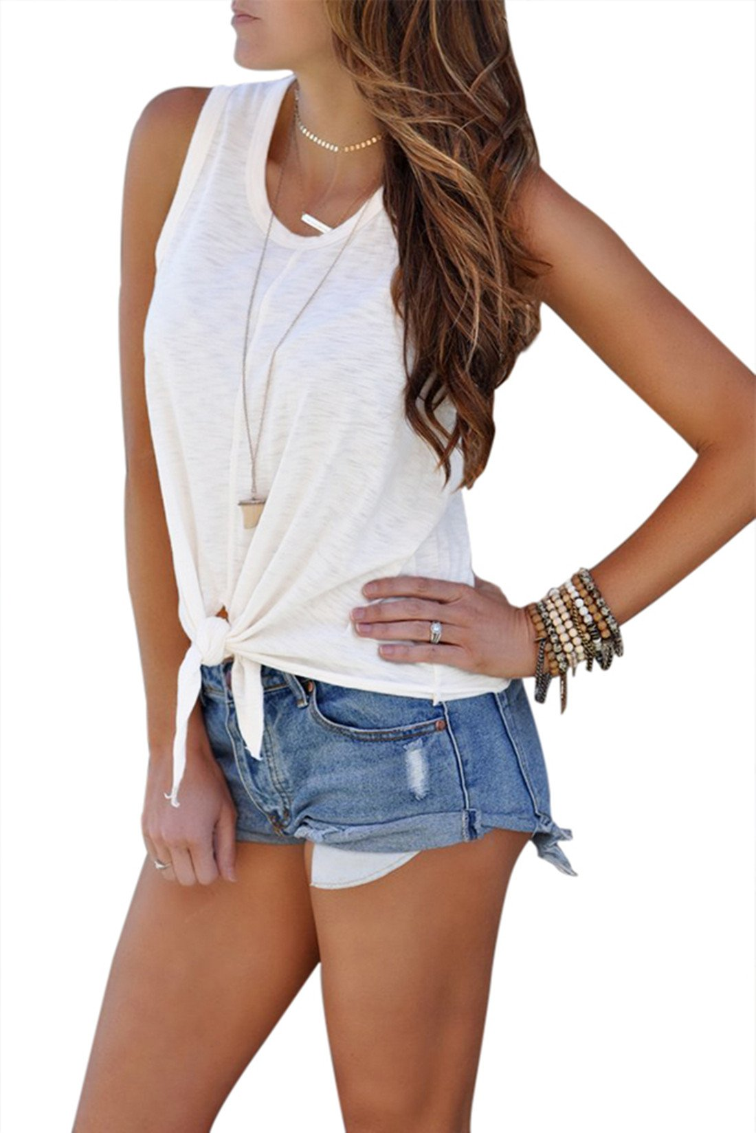 Astylish Womens Summer Loose Ladies Sleeveless Front Tie Tank Tops White X-Large 16 18