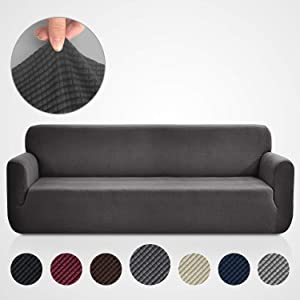 Rose Home Fashion RHF Jacquard-Stretch Sofa Cover, Slipcover for Leather Couch-Polyester Spandex Sofa Slipcover&Couch Cover for Dogs, 1-Piece Sofa Protector(Extra-Wide Sofa: Dark Gray)