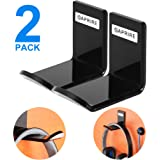 Headphone Stand Hanger Wall Mount - Pack of 2 OAPRIRE Acrylic Headphone Holder Hook, Stick-On Gaming Headset Stand with Cable Clips (Black)