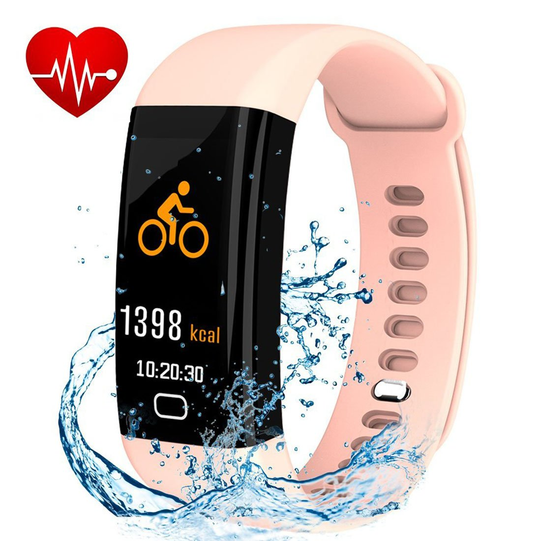 Letuboner Fitness Tracker with Heart Rate Monitor,Color Screen Activity Tracker,IP68 Waterproof Smart Wristband Pedometer (pink)