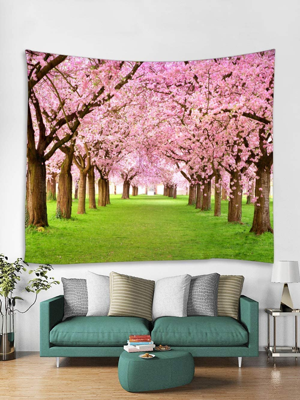 Spring Living Room Tapestry Large, Asian Cherry Flower Tree Woodland Scenic Tapestries Landscape Wall Hanging Fabric for Home Bedroom Dorm Decor Wall Art Blanket, 71 x 90