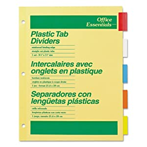 Office Essentials 11465 Plastic Insertable Dividers, 5-Tab, Letter