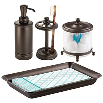 mDesign Juego de 4 complementos de baño – Set con organizador de toallas, tarro de
