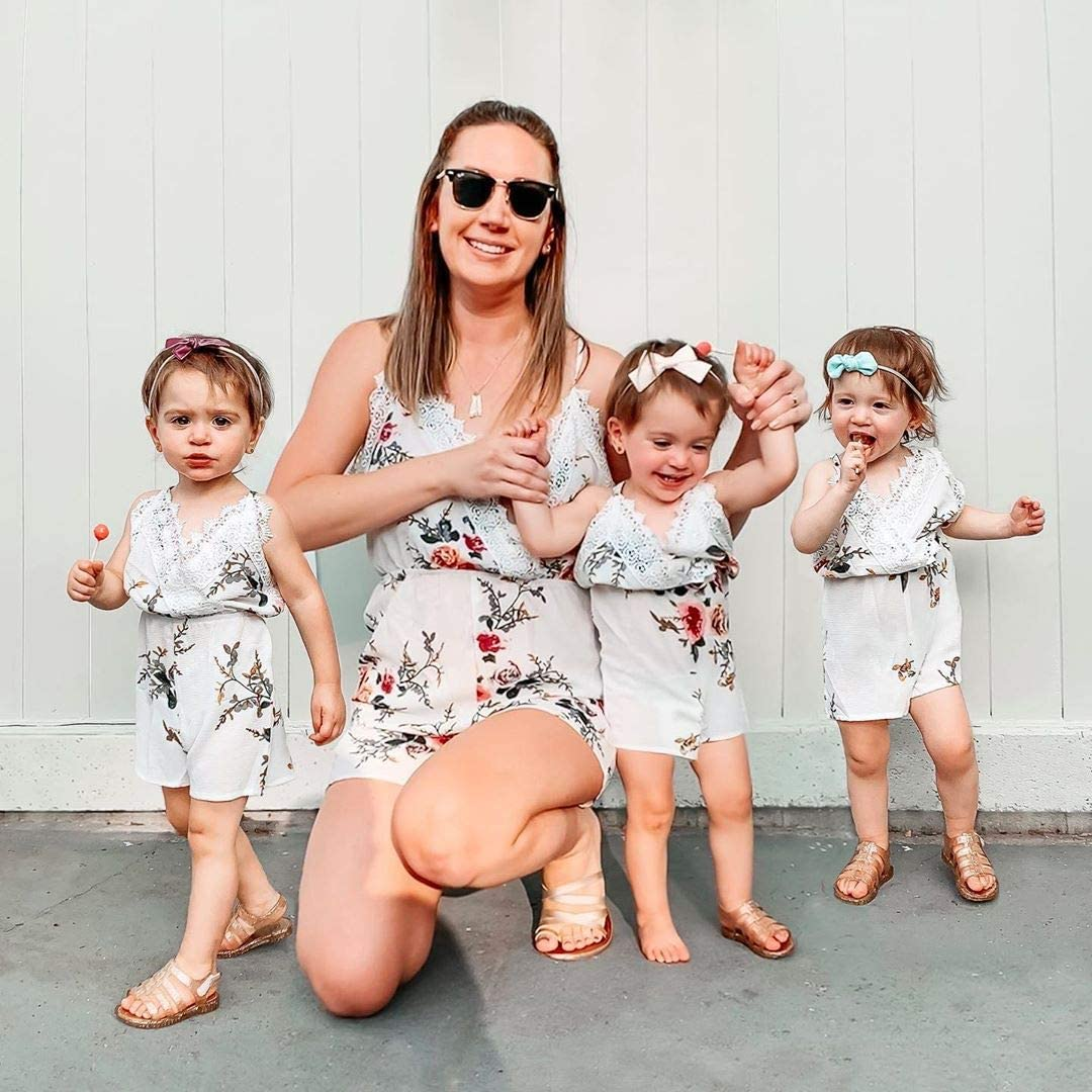 Yaffi Mommy and Me Matching Jumpsuit Outfits Chiffon Lace Floral Printed Spaghetti Strap V Neck Romper White