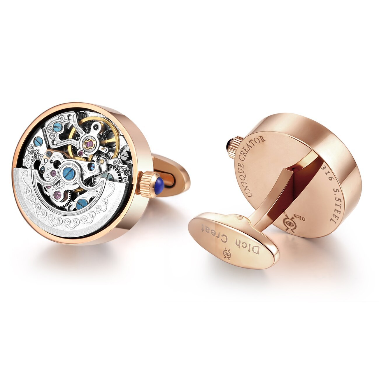 Dich Creat Men's Stainless Steel Rose Gold PVD Automatic Working Movement Cufflink by Dich Creat