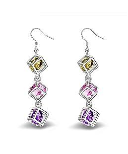 TOOGOO 1 paire Mode Charme Elegant Boucles d'oreilles carrees en diamant Bijoux Boucles d'oreilles Pour Femmes Filles Cadeaux