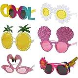 6Pcs Luau Party Sunglasses - Hawaiian Party Decorations - Funny Hawaiian Glasses for Kids & Adults - Tropical Theme…