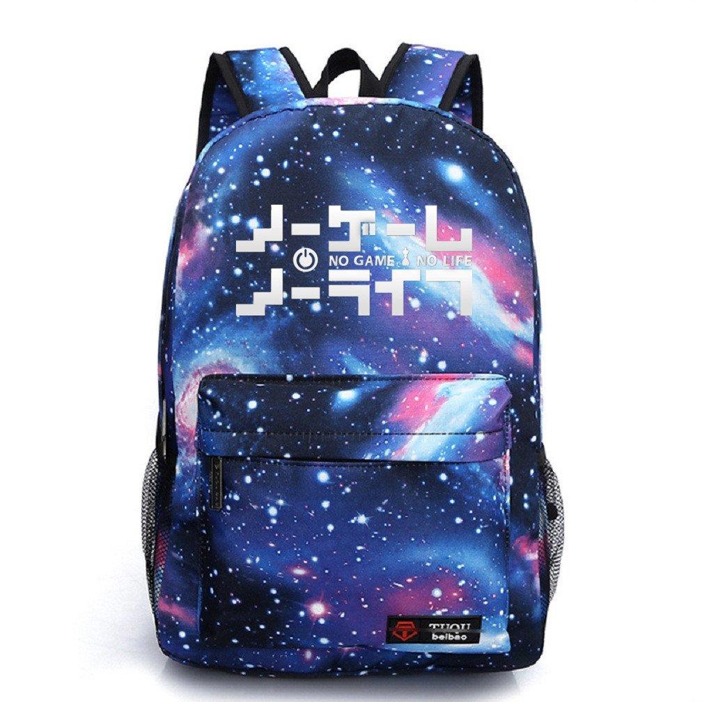 YOYOSHome Luminous Japanese Anime Cosplay Daypack Bookbag Laptop Backpack School Bag (No Game No Life Blue)