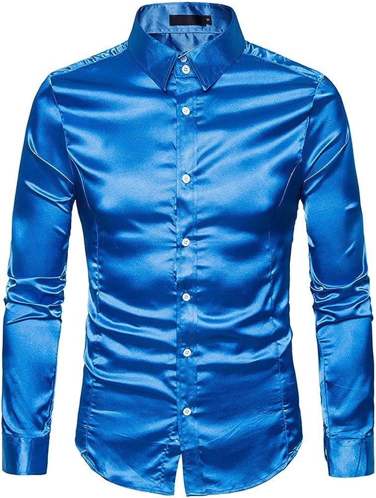 Camisa de Manga Larga para Hombre, clásica, básica, para Negocios, Ocio, Boda, Slim Fit Azul XXL: Amazon.es: Ropa y accesorios