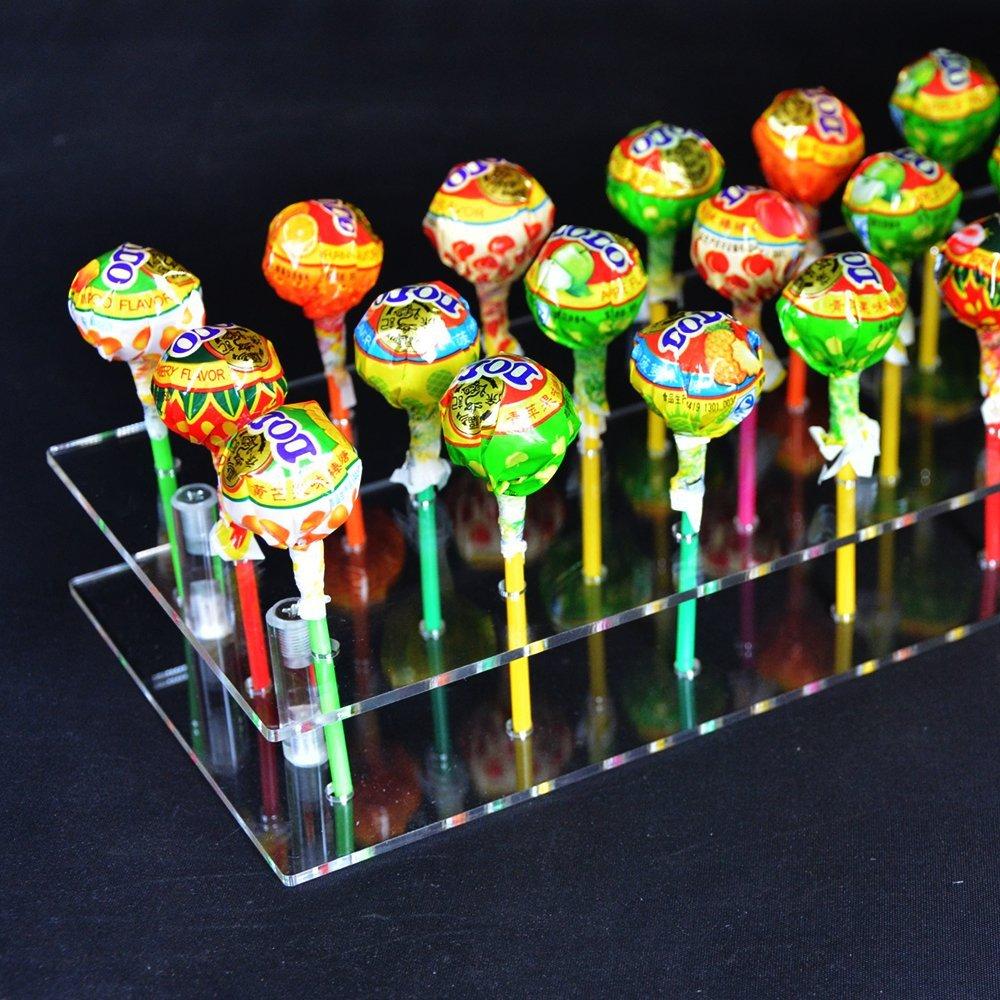 meizhouer 21 Hole Acrylic Cake Pop Clear Stand Decoration Lollipop Decorating Display Transparent Plastic Board Holder Base Shelf