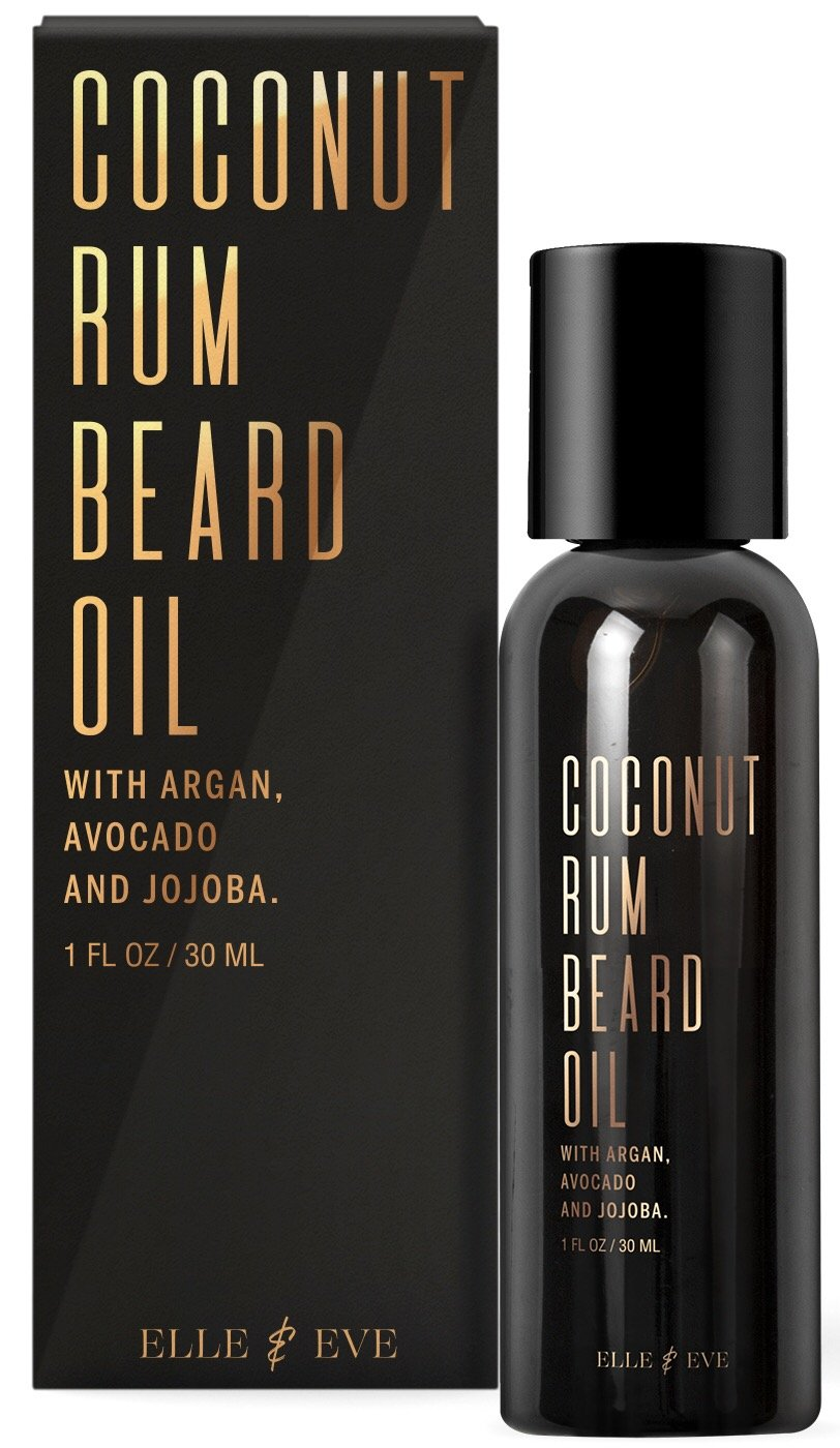 Premium Beard Oil for Men - Facilitates Beard Growth, Rids Itching & Flaking - Softener & Leave-In Conditioner - Sensational Coconut Rum Scent - 1oz
