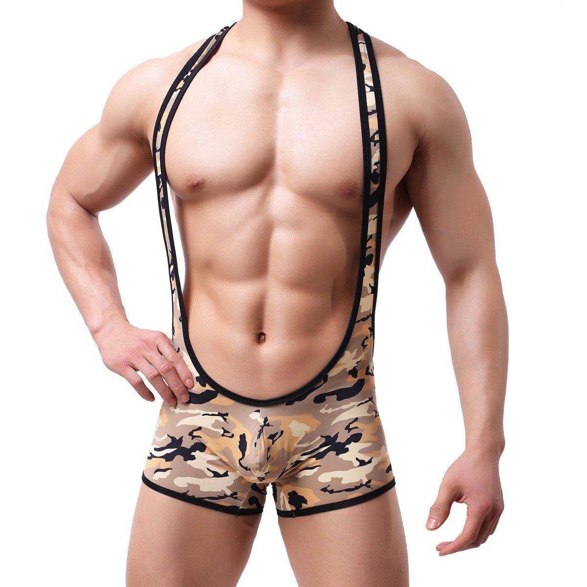Sexy Men Bodysuit Jumpsuits Underwear Camo Wrestling Singlet Lingerie
