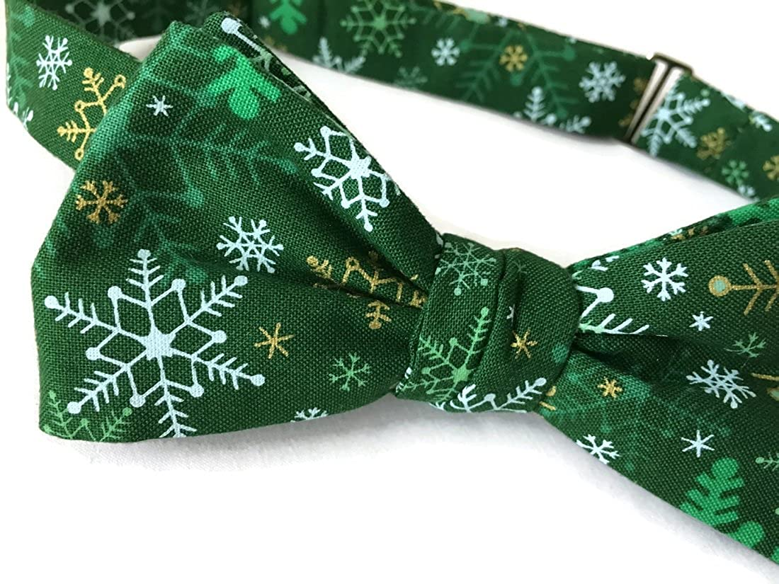 Men/'s Self-Tie Green Snowflake Bow Tie with Gold Metallic