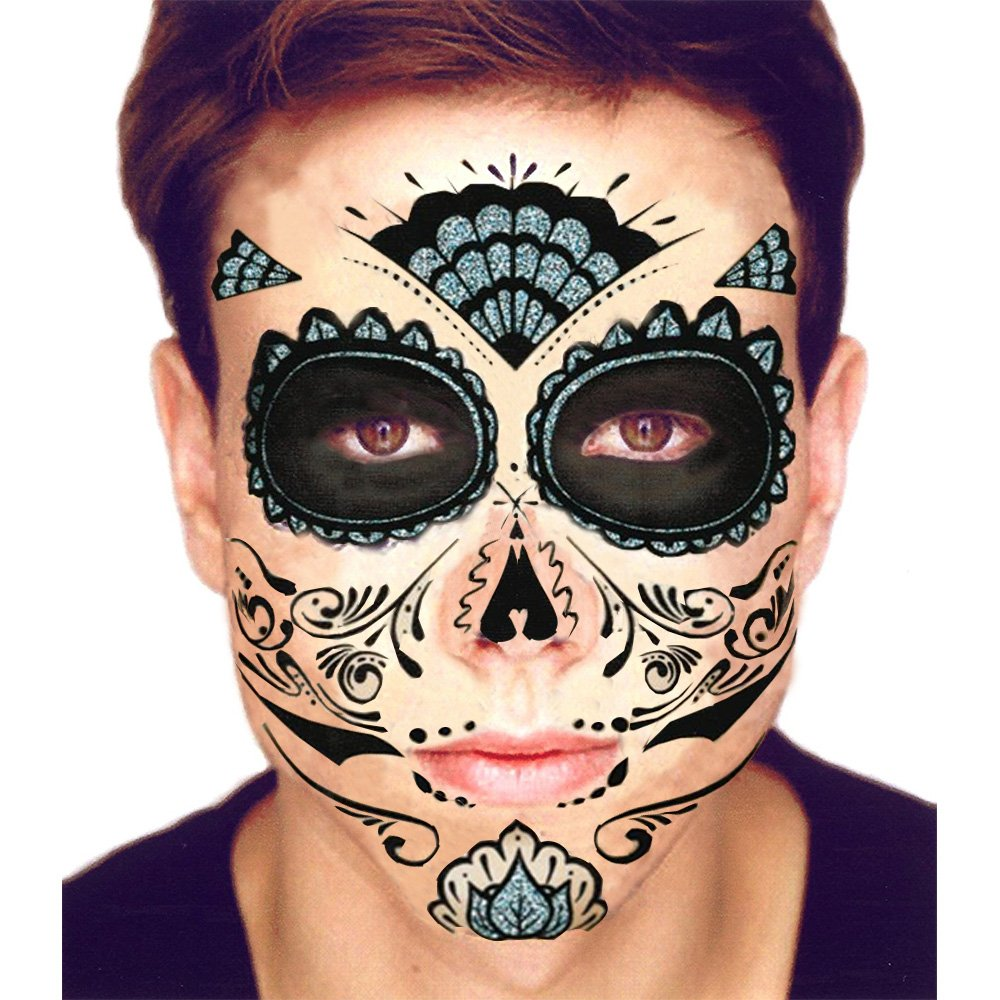 Amazon floral day of the dead sugar skull temporary face black glitter skeleton day of the dead temporary face tattoo kit men or women solutioingenieria Image collections