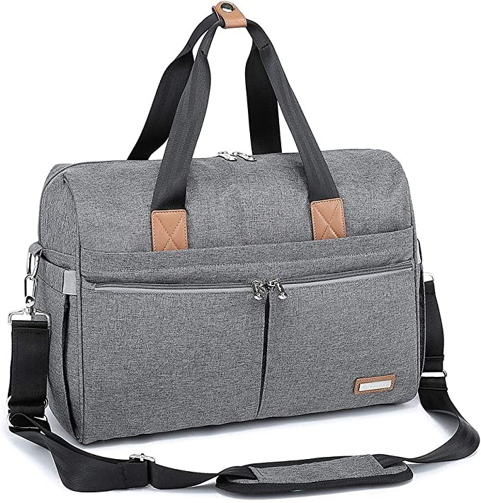 Changing Bag, RUVALINO Large Weekender Travel Nappy Tote Stylish for Mom and Dad Convertible Baby Bag for Boys and Girls with Changing Pad, Insulated Pockets (Gray)