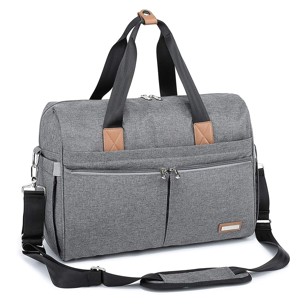 Diaper Bag, RUVALINO Large Travel Diaper Tote Multifunction for Mom and Dad Convertible Baby Bag for Boys and Girls with Changing Pad, Insulated Pockets (Gray) by RUVALINO