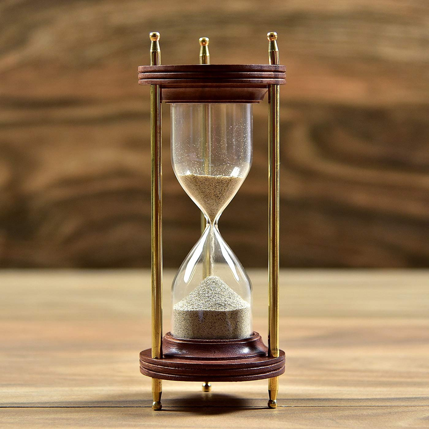 """De Cube Vintage Hourglass Sand Timer Coffee Table Office Desk Decor, Ideal  Gift for Executive, Chef, Christmas, Birthday, Anniversary, Valentines  (8.5"""" Tall x 3.3"""" Dia. Base) (Wood)- Buy Online in Botswana at"""