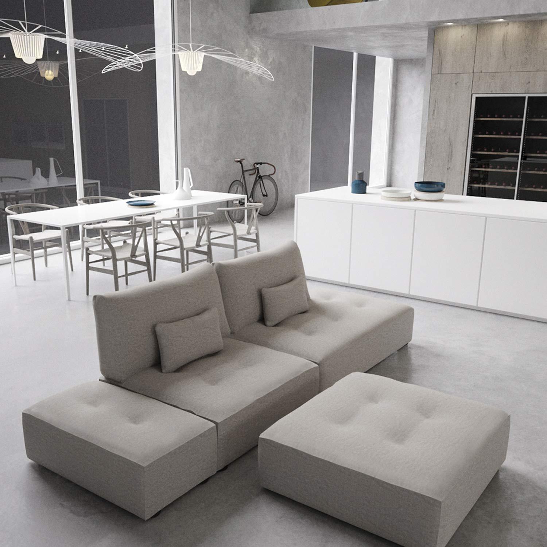 Marca Amazon - Alkove Elvas - Módulo chaise longue con almacenaje y cojín adicional para sofá modular, 145 x 100 cm, gris