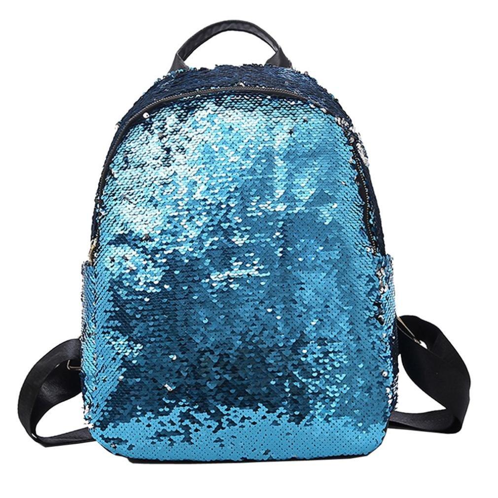 Chartsea Fashion Girl Sequins School Bag Backpack Satchel Student Travel Shoulder Bag (Blue)