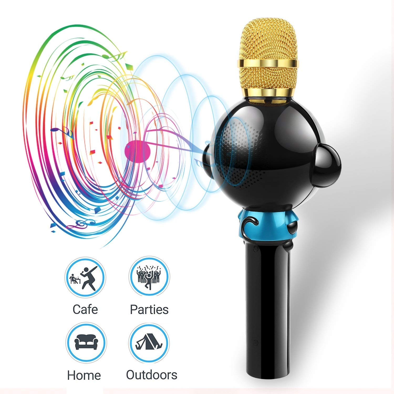 LingHui Kids Microphone Wireless Bluetooth Karaoke Microphone, 3-in-1 Portable Handheld Karaoke Mic Home Party Birthday Speaker Machine for iPhone/Android/iPad/Sony,PC and All Smartphone (Black) by LingHui (Image #6)