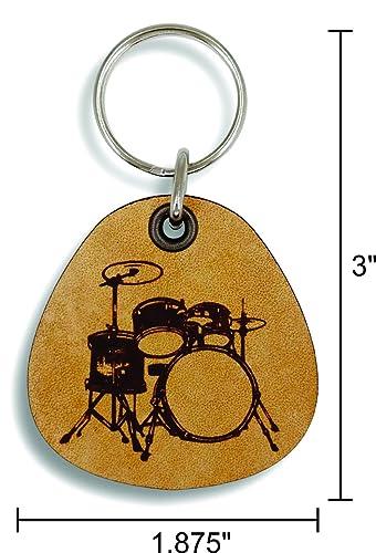 ForLeatherMore - Drums - Genuine Leather Keychain - Music Keychains