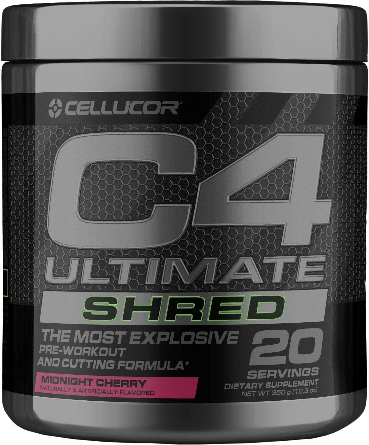 Cellucor C4 Ultimate Shred Pre Workout Powder, Fat Burner for Men & Women, Weight Loss Supplement with Ginger Root Extract, Midnight Cherry, 20 Servings: Health & Personal Care