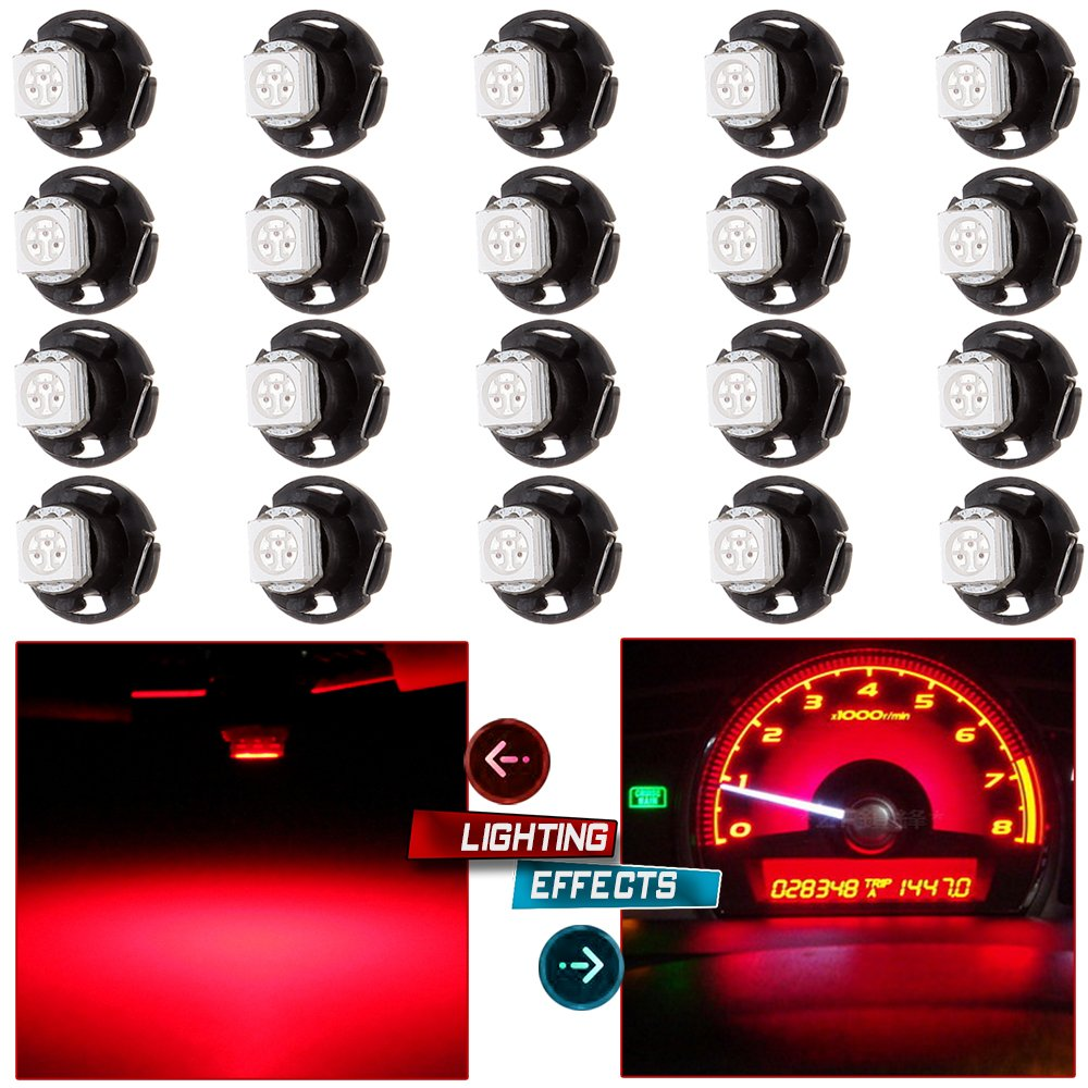 cciyu 20 Pack T4.7 Red 1-5050-SMD LED Neo Wedge A/C Climate Heater Lights Bulb 12V by cciyu