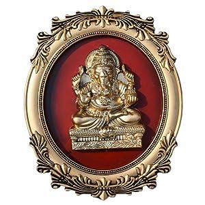 Bluday Golden Shri Lord Ganesha Wall Hanging Hard Plastic Photo Frame (13L X 10H) inch