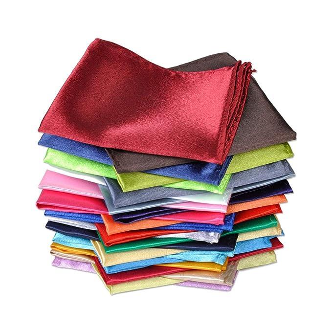 Amazon.com: 30 pañuelos de bolsillo de seda cuadrados para ...