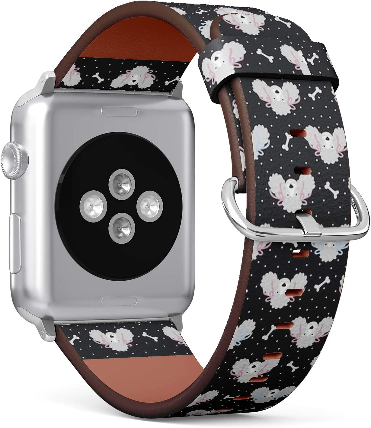 Compatible with Apple Watch Series 5, 4, 3, 2, 1 (Small Version 38/40 mm) Leather Wristband Bracelet Replacement Accessory Band + Adapters - Cute Poodles Bones