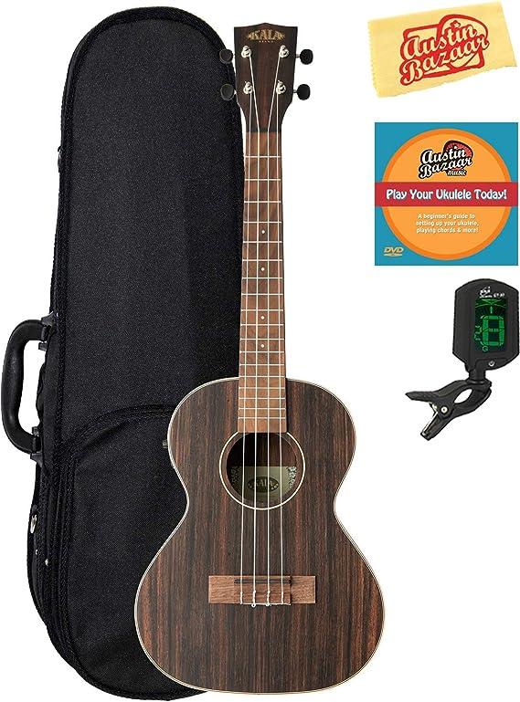 Kala KA-EBY-TE Striped Ebony Tenor Acoustic-Electric Ukulele Bundle with Hard Case