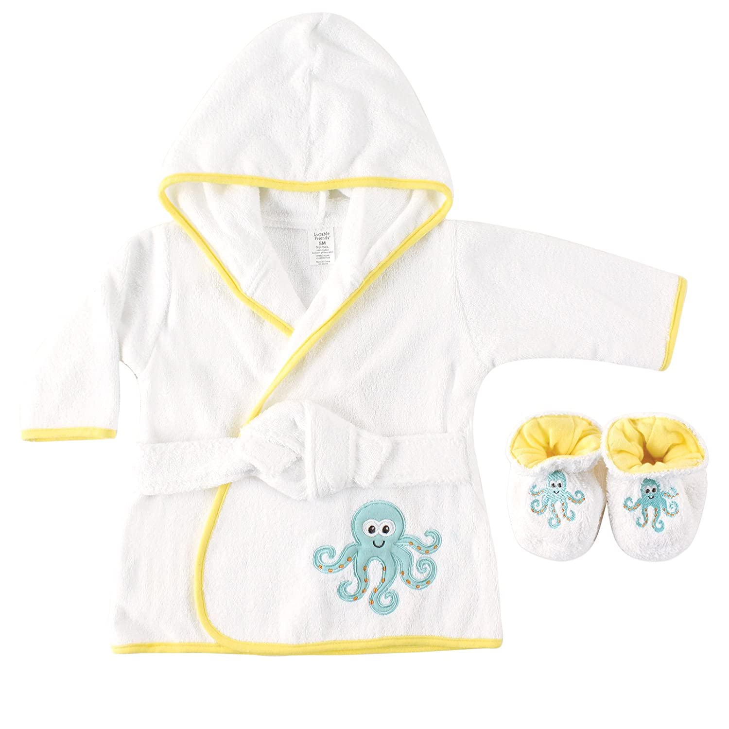 Luvable Friends Woven Terry Baby Bath Robe with Slippers Yellow Discontinued by Manufacturer
