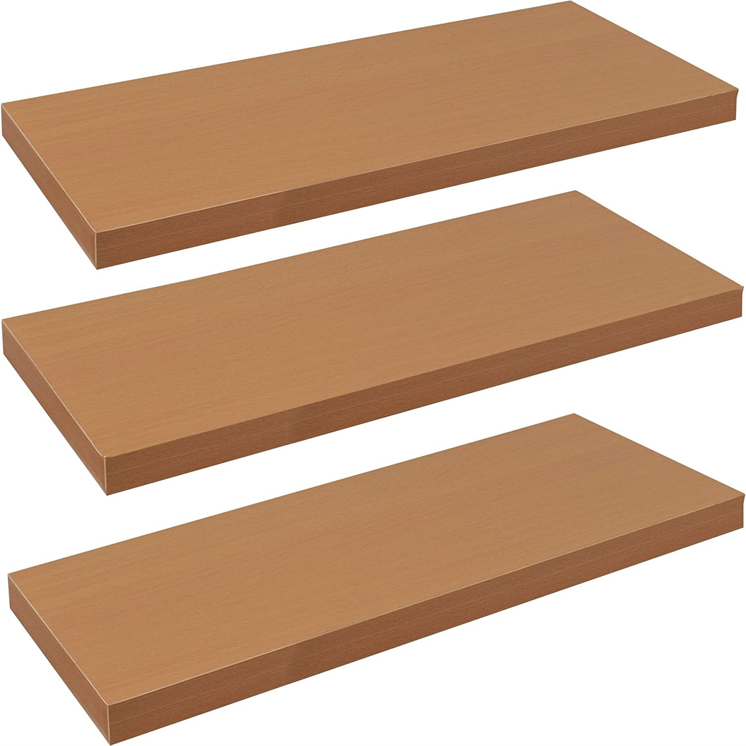 Harbour Housewares Pack of 3 Floating Wooden Wall Shelves 80cm - Natural Beech