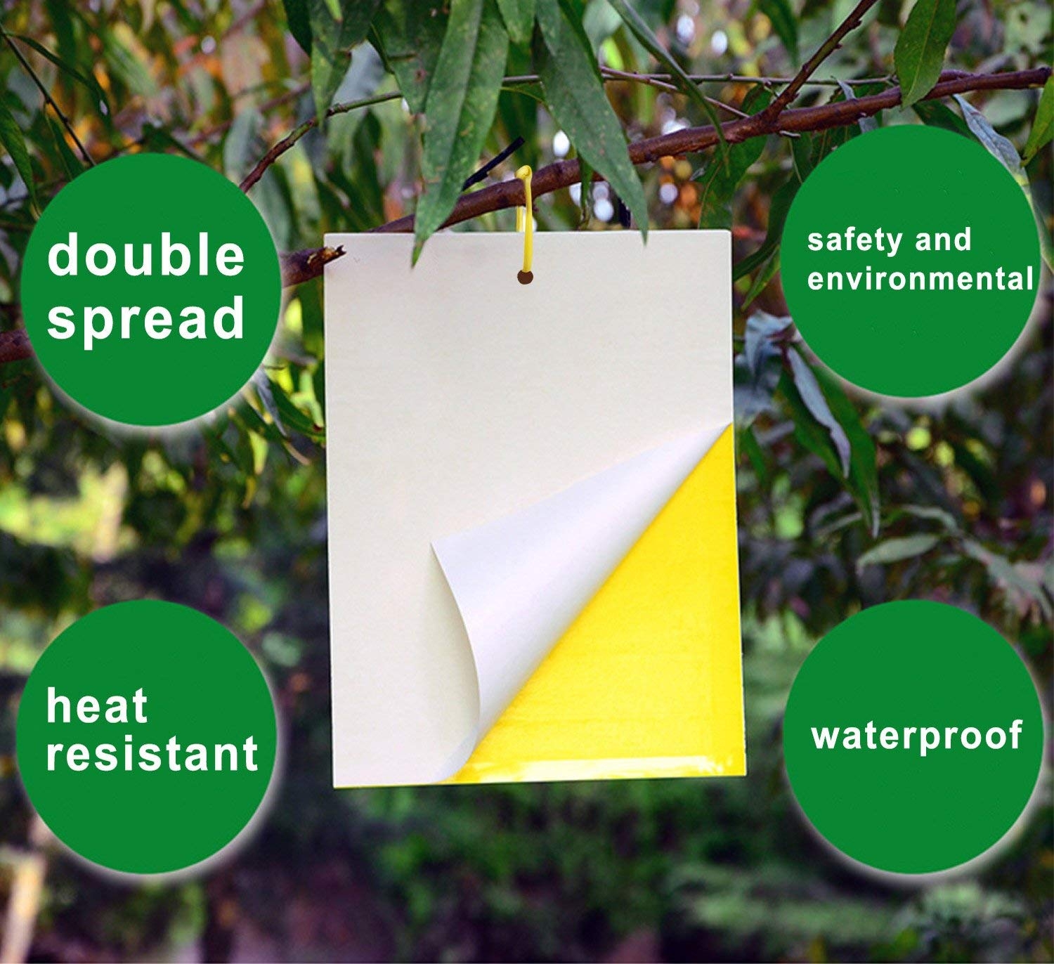 Dual-Sided Yellow Fly Catcher Paper Sticky Fly Killer for Indoor or Greenhouse Fly Trap 20 Pack