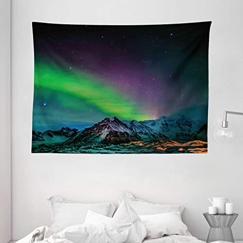Ambesonne Aurora Borealis Tapestry, Southern Iceland on Sky Over Rocky Hills Wild Night View, Wide Wall Hanging for Bedroom Living Room Dorm, 80 X 60 , Blue Lime