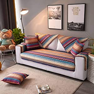 Quilted Sofa Slipcover,Modern Non-Slip Sofa Protector Home Lliving Room Couch Cover for Recliner Corner Couch Sectional Sofa Machine Washable -A-90x70cm(35x28inch)