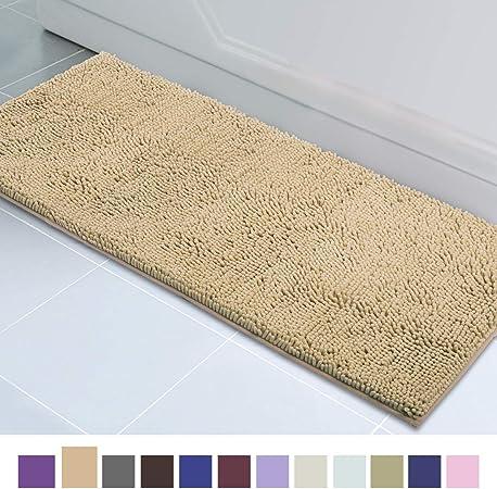 Large Bathroom Bath Rugs Non-slip Absorbent Microfiber Shaggy Chenille Mats