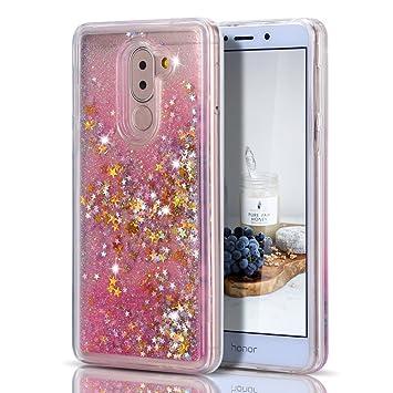 Caselover Funda Huawei Honor 6X, 3D Bling Silicona TPU Arena Movediza Lentejuelas Carcasa para Honor 6X Glitter Líquido Brillar Cristal Sparkle ...