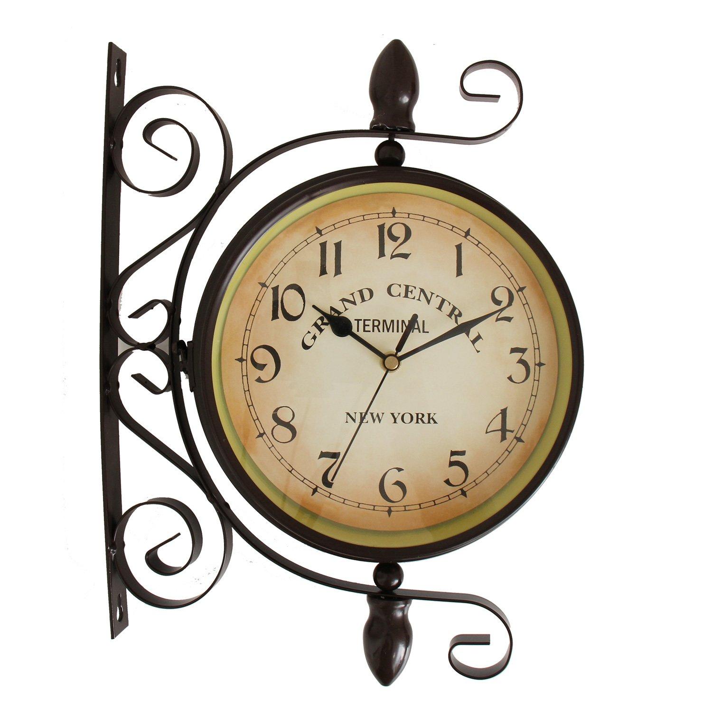 【エルアンドシー】アンティークステーションクロック 両面時計 時計 壁掛け アンティーク レトロ 男前 インテリア かっこいい B07B2BJWQG