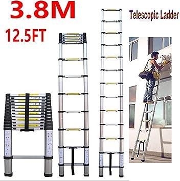 16.4 pies de aluminio plegable de extensión telescópica Escalera telescópica Escalera recta Capacidad de carga 150 kg extensible Max / 330lb EN 131 Liviana totalmente Extened 5M dljyy: Amazon.es: Bricolaje y herramientas