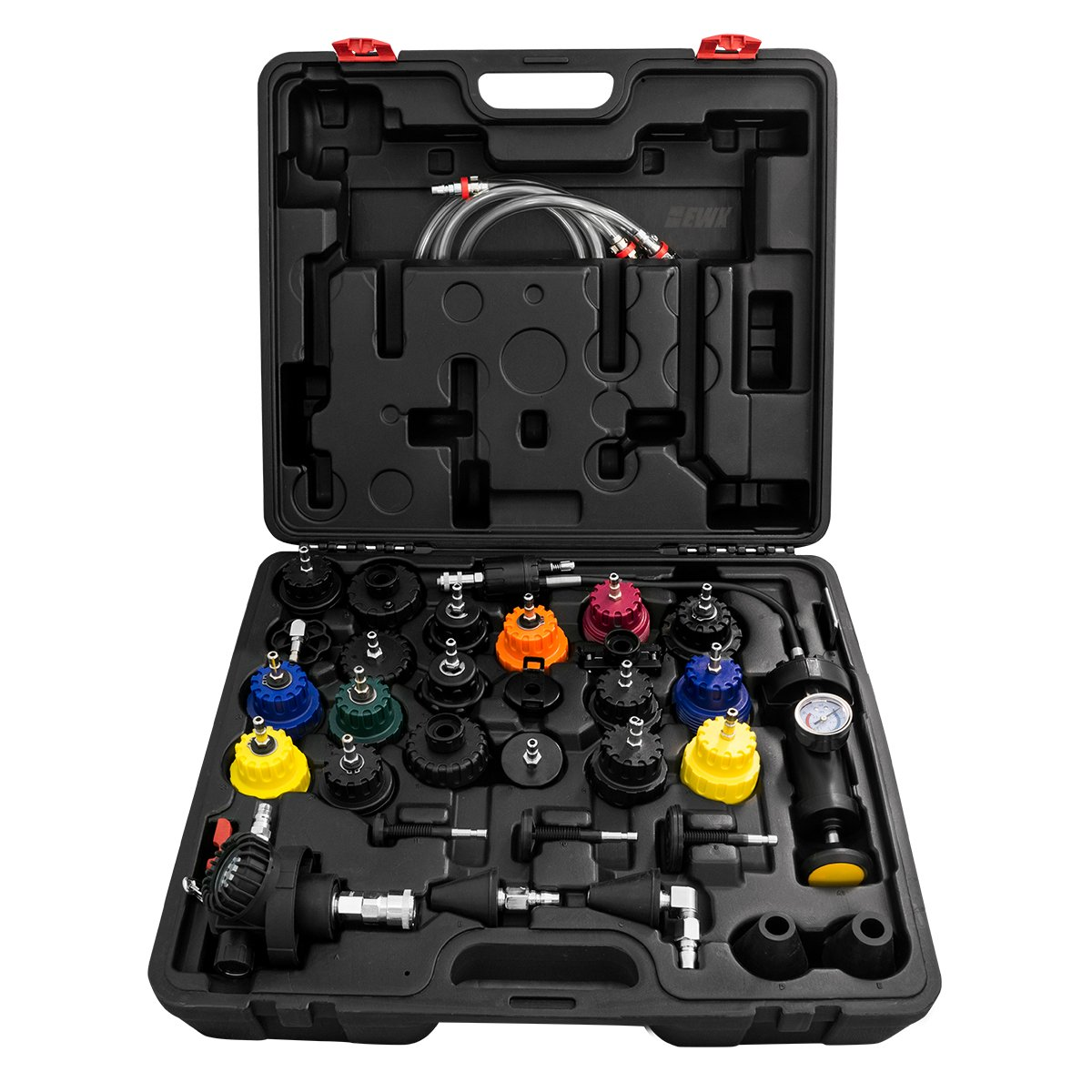 EWK Cooling System Pressure Tester Adapter Radiator Compression Leak Test Kit and Vacuum Coolant Refill Tool