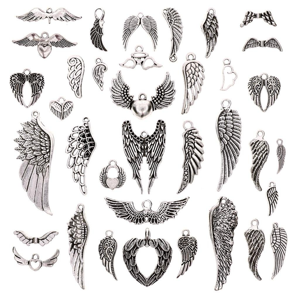 KeyZone 36 Pcs Vintage Silver Plated Assorted Angel Wings Charms Pendants DIY for Jewelry Making and Crafting