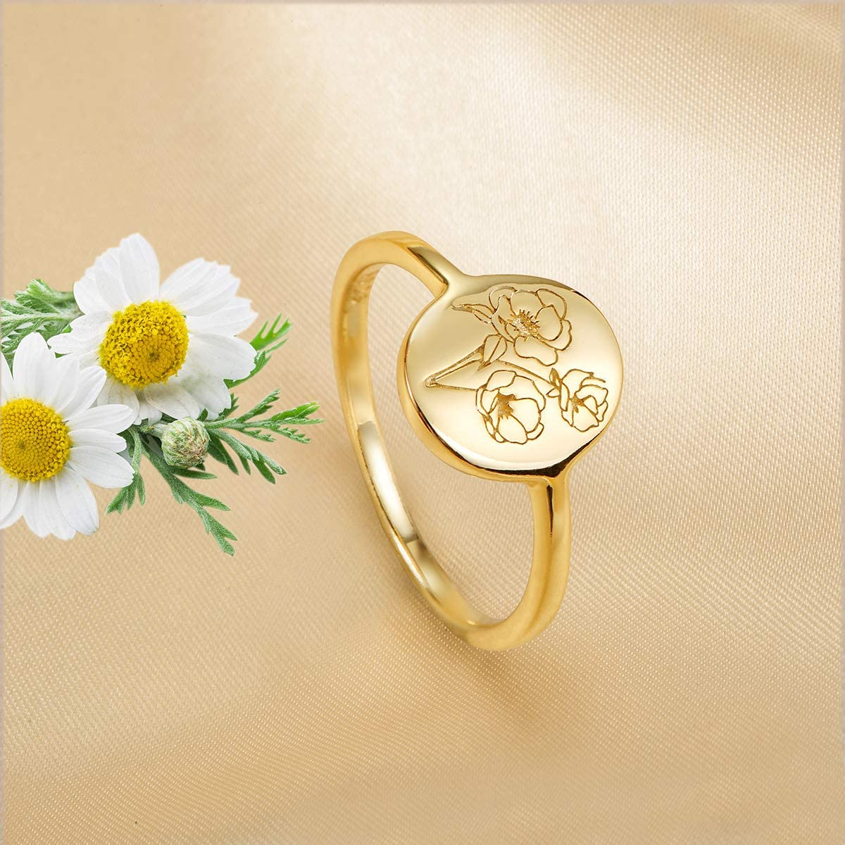 Delicate Personalized Jewelry Gift for Women//Girls 18K Gold Over 925 Sterling Silver Ring-Minimalistic Statement Ring with Botanical Engraved Yuemizi Handmade Flower Signet Ring
